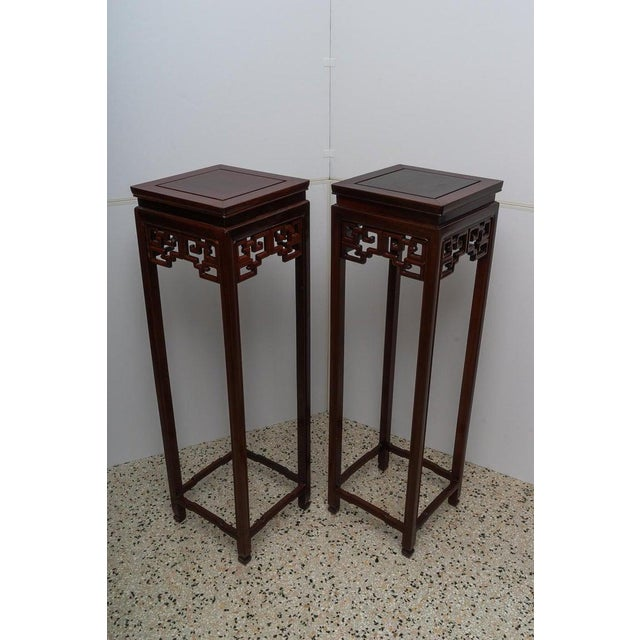 Wood Chinese Rosewood Pedestals For Sale - Image 7 of 13