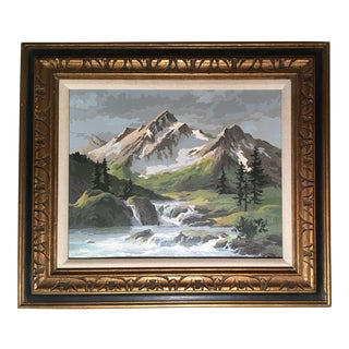 Mid Century Paint by Numbers Mountain Landscape For Sale