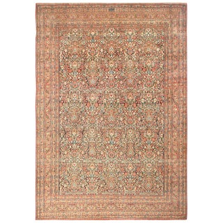 Large Antique Persian Khorassan Floral Design Rug - 13′3″ × 19′2″ For Sale