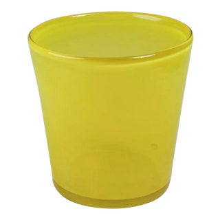 Art Glass Ice Bucket in Citron For Sale