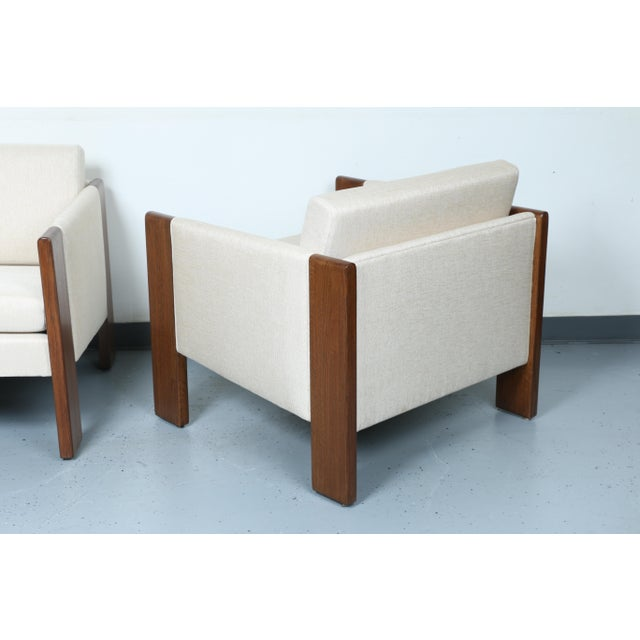 Walnut pair of Cubed Lounge Chairs - Image 3 of 10