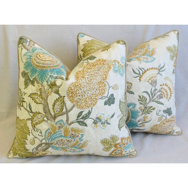"""Cream French Jacobean Floral Feather/Down Pillows 24"""" Square - Pair For Sale - Image 8 of 13"""