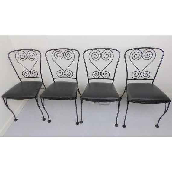 Vintage Black Wrought Iron Patio Chairs - Set of 4 For Sale In Sacramento - Image 6 of 6