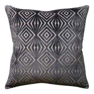 "Cool Gray Cut Velvet Geometric Pillow - 22"" x 22"" For Sale"