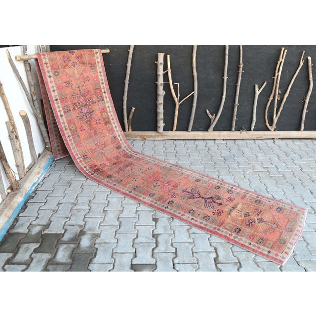 1960's Vintage Turkish Hand-Knotted Long Runner-2′9″ × 15′1″ For Sale - Image 9 of 11