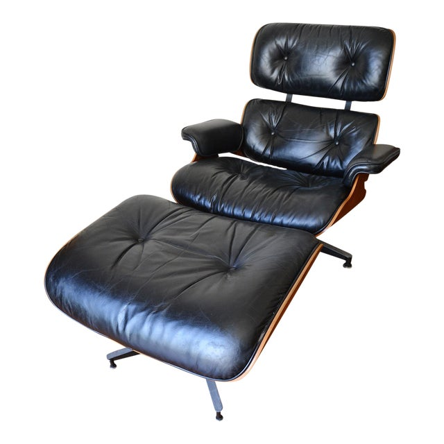 Vintage Herman Miller Rosewood Eames Lounge Chair & Ottoman For Sale