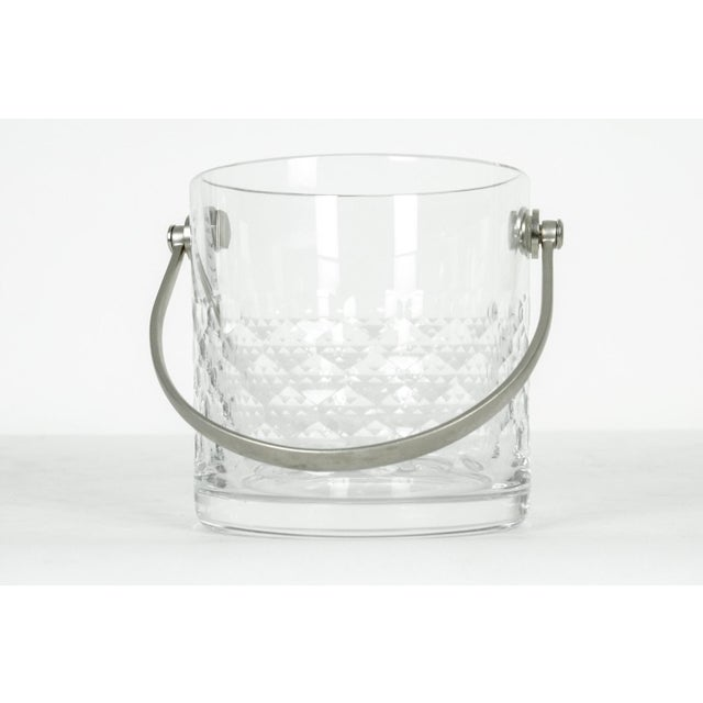 Mid 20th Century Baccarat Crystal Ice Bucket With Plated Handle For Sale - Image 5 of 5