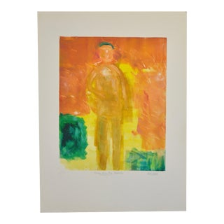 "Arthur Krakower (1921-2006) Original Monotype ""Man on the Beach"" For Sale"