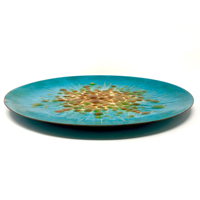 Mid-Century Modern Vintage Enameled Copper Decorative Plate by Mesick Studios For Sale - Image 3 of 8