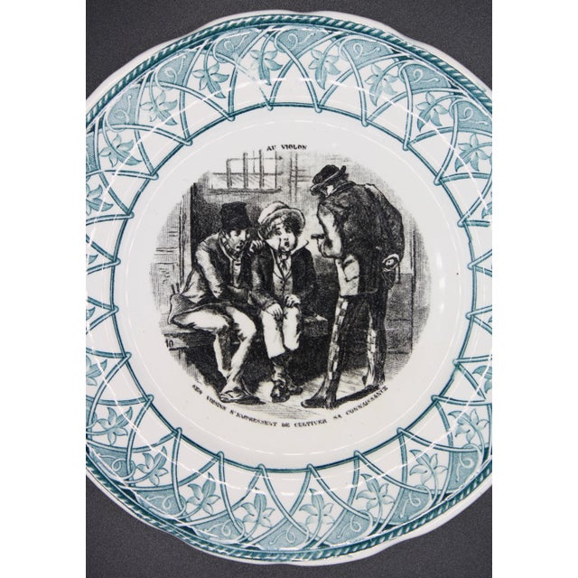 """Early 20th Century French Plate """"Au Violon"""" For Sale - Image 9 of 10"""