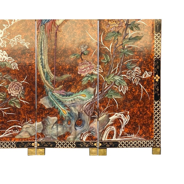 Brown Jade Color Stone Inlaid Black Lacquer Wood Floor Screen Divider For Sale - Image 8 of 11