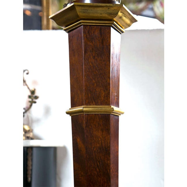 French Bronze Empire Style Mahogany Floor Lamp - Image 9 of 10