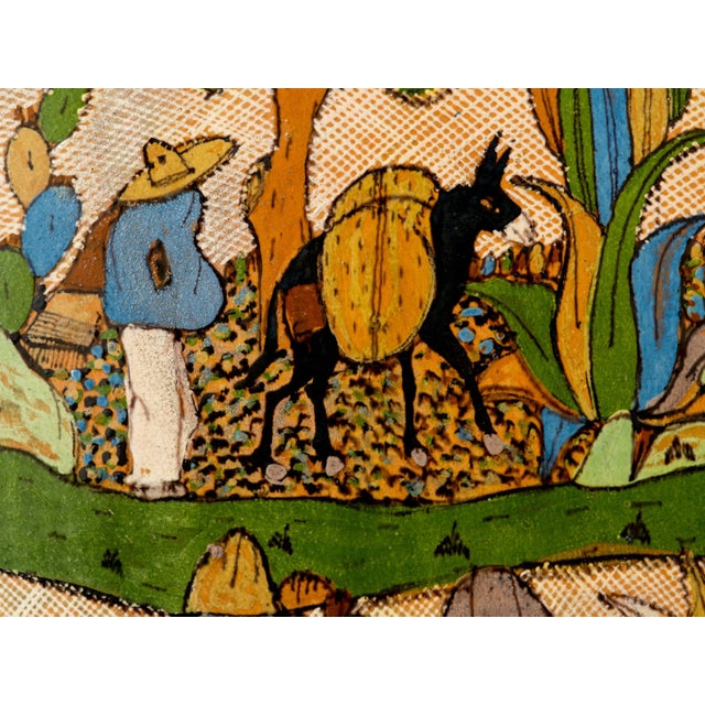 Tlaquepaque 1930s Mexican Hand-Painted Ceramic Charger Tray For Sale - Image 4 of 11