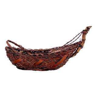 1880s Antique Japanese Ikebana Boat Basket For Sale