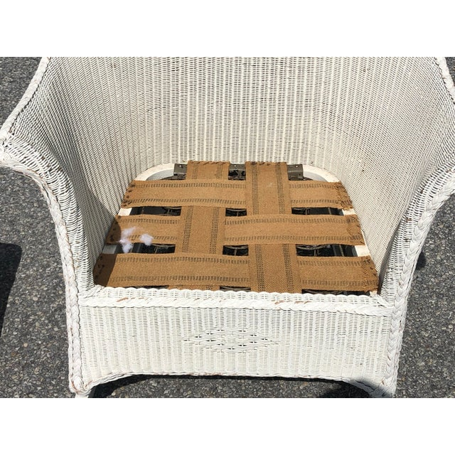 Vintage Heywood Wakefield Wicker Rocker With Hermes Leather Pillow For Sale - Image 11 of 13