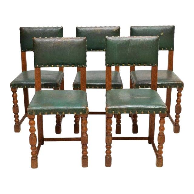 Vintage Mid Century Renaissance Revival Style Oak Side Chairs- Set of 5 For Sale