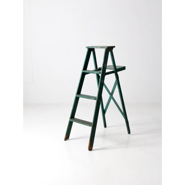 Early 20th Century Vintage Green Wooden Ladder For Sale - Image 5 of 10