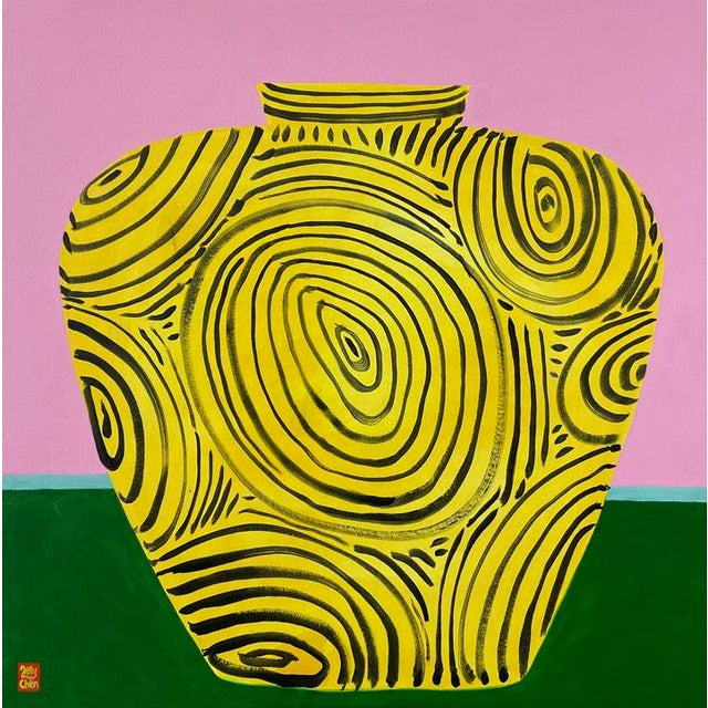 """Yellow Vase"" Original Acrylic Painting For Sale"