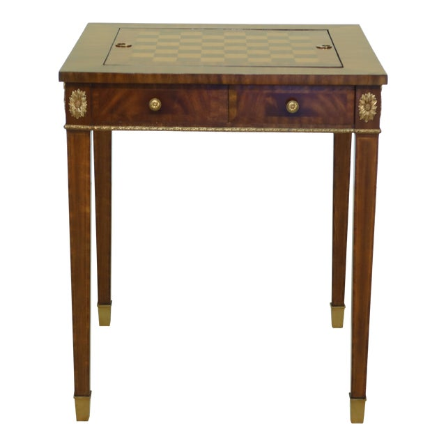 Maitland Smith Square Mahogany Games Table W. Reversible Top For Sale