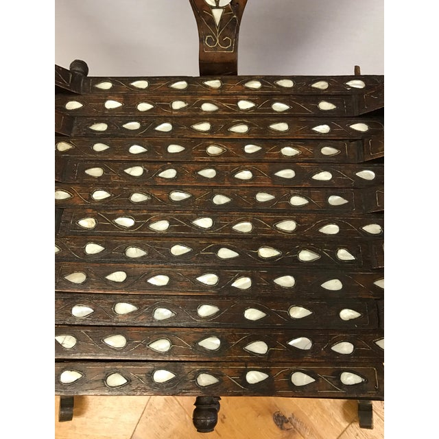 Antique Mother-Of-Pearl Inlay Savonarola Chair For Sale - Image 12 of 13