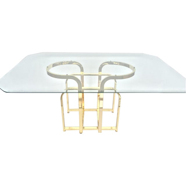 Glam Sculptural Glass & Brass Dining Table - Image 1 of 5