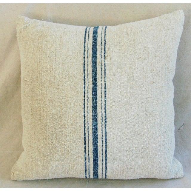 Blue Stripe French Grain Sack Pillow - Image 8 of 8