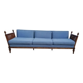 Vintage Hollywood Regency Carved Wood with Blue Fabric Sofa
