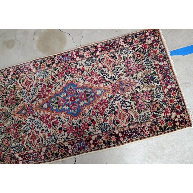 1910s, Handmade Antique Persian Kerman Rug 2.2' X 4.1' 1910s For Sale - Image 4 of 7