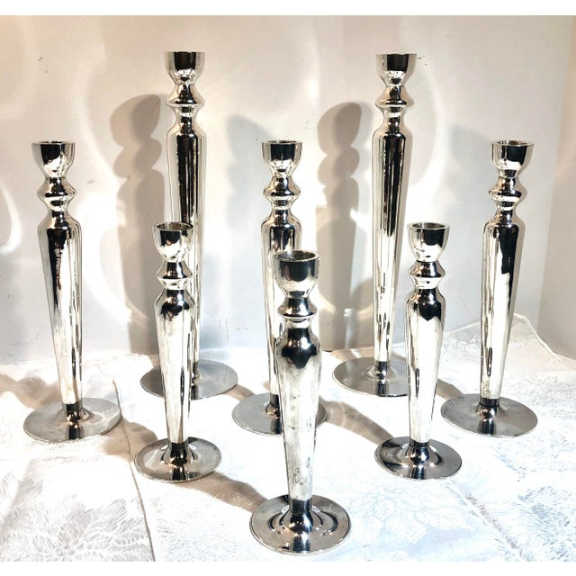 Vintage Silver Plated Candle Holders - Set of 8 For Sale - Image 11 of 11