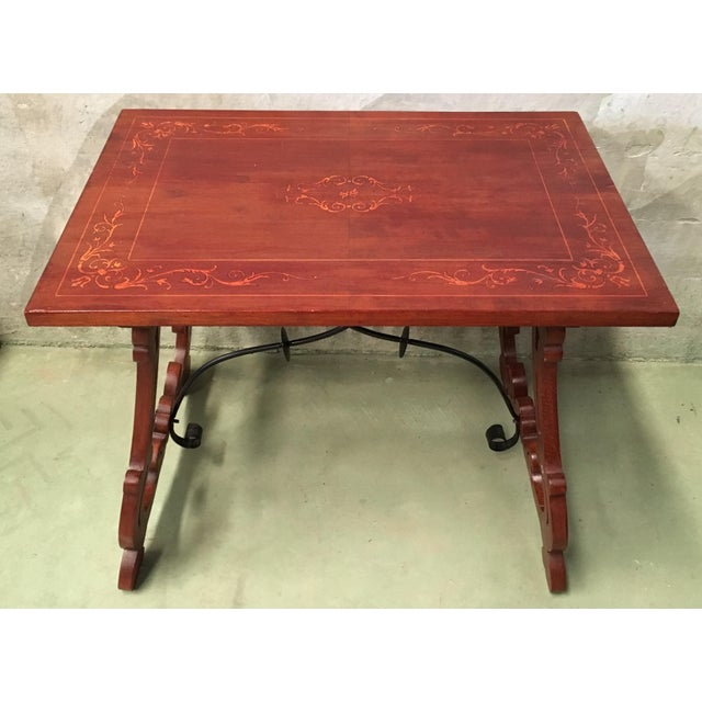 Mahogany 19th Century Baroque Spanish Side Table With Marquetry Top & Lyre Legs For Sale - Image 7 of 13