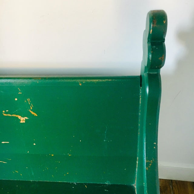 Late 19th Century Late 19th Century Vintage Emerald Green Vernacular Gothic Pew For Sale - Image 5 of 11
