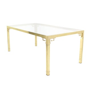 Solid Brass Greek Key Design Dining Table by Mastercraft For Sale