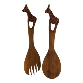 Vintage Carved in Kenya Giraffe Wooden Salad Spoon and Fork - Set of 2