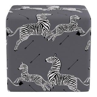 Cube Ottoman in Slate Zebra by Scalamandre For Sale
