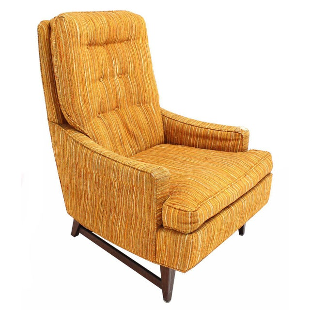Mid-Century Modern Selig Lounge Chair and Matching Ottoman with Upholstery For Sale - Image 3 of 9