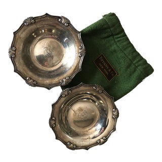 1900's Sterling Silver Tiffany & Co. Candy Dishes in Green Felt Bag - a Pair For Sale