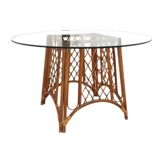 1970's Vintage Bamboo and Glass Pedestal Dining Table For Sale