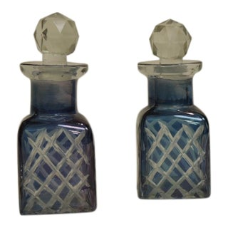 Antique French Crystal Perfume Bottles - A Pair