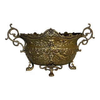 French Renaissance Cast Brass Jardiniere For Sale