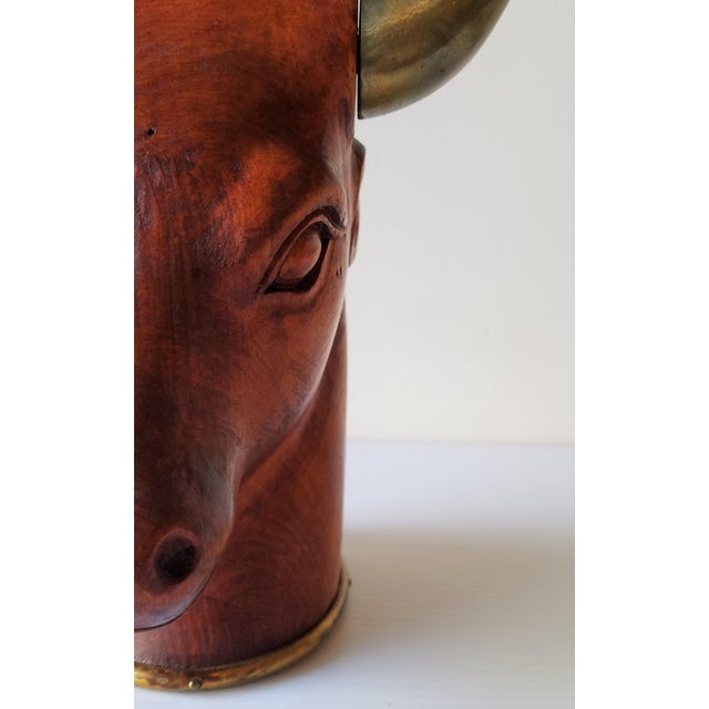 1960's Sarried Ltd Carved Brass and Wood Bull's Head For Sale In Seattle - Image 6 of 10