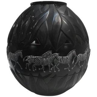 1990s Art Deco Lalique Black and White Enameled Zebra Tanzania Vase