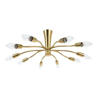 J.T Kalmar Brass Sputnik Scorpio Chandelier Ceiling Lamp Light, 1950 For Sale