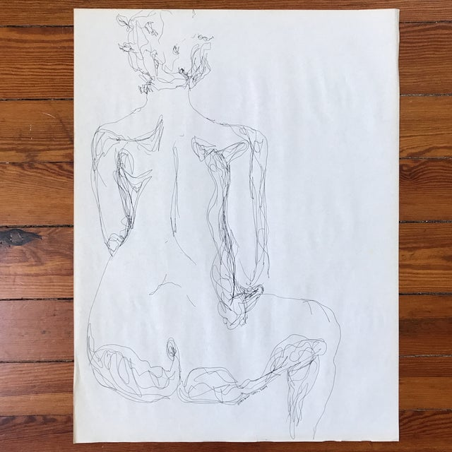 Loose ink drawing of nude on newsprint by artist Alice Houston Miles, 2009. Shipped in tube and protective acetate sleeve.