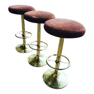 Mid Century Modern Vintage Barstools With Brass Base-Set of 3 For Sale