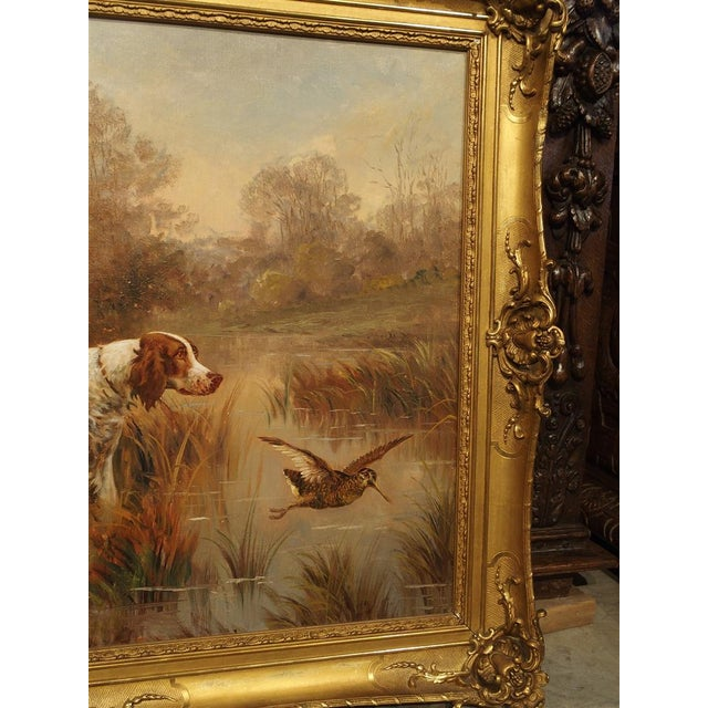 Antique Hunting Dog Painting by Maurice Etienne Dantan For Sale - Image 9 of 11