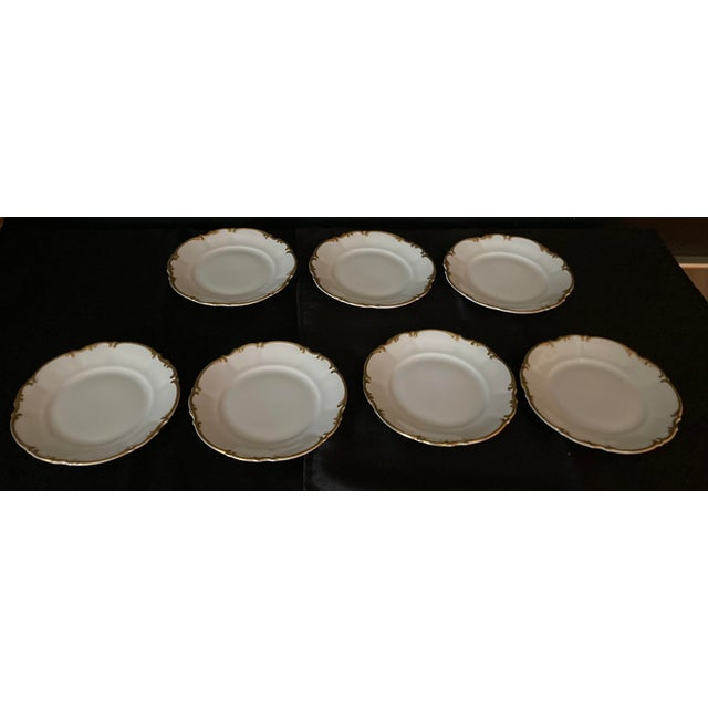 Vintage Hutschenreuther porcelain Bread and Butter plates in the Brighton Pattern, White with gold trimmed scalloped...