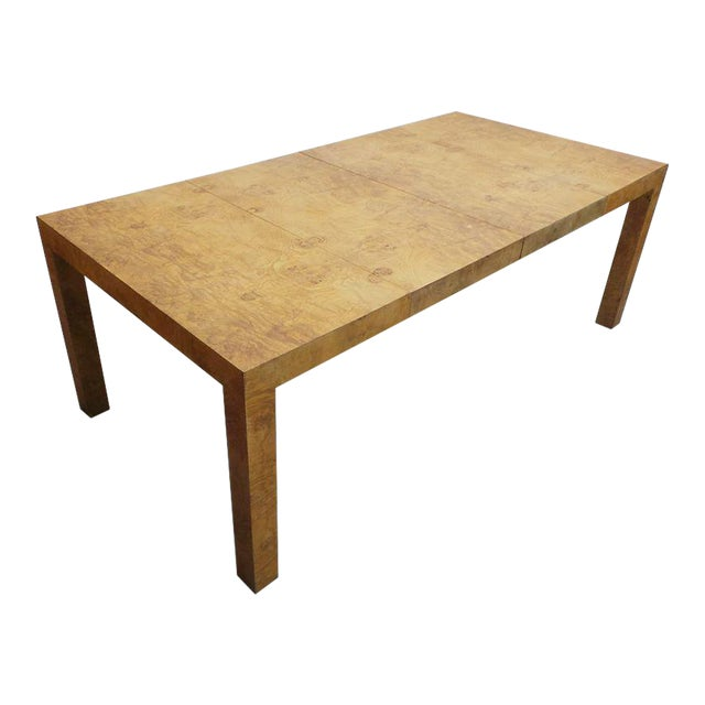 Mid Century Modern Milo Baughman Thayer Coggin Olive Burlwood Parsons Dining Table With 2 Leafs For Sale