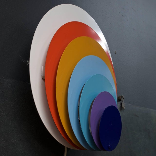 Mid-Century Modern 1960s Lyfa Psychedelic Pop Art Offset Concentric Circles Peacock Wall Sconce For Sale - Image 3 of 5
