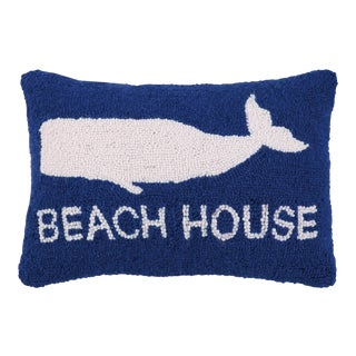 "Beach House Whale Hook Pillow, 14"" x 18"" For Sale"
