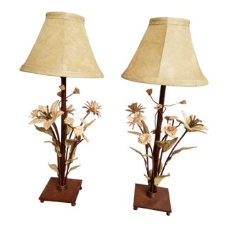 1980s Shabby Chic Tole Flower Vanity Lamps - a Pair For Sale